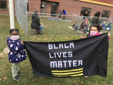 Ira Allen Preschool Students Help with Flag